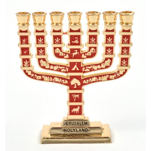 Red Enamel 12 Tribes Design Decorative Small Seven Branch Menorah