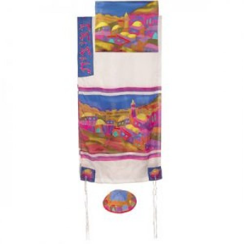 Silk Prayer Shawl Set with Hand Painted Colorful Jerusalem Views - Yair Emanuel