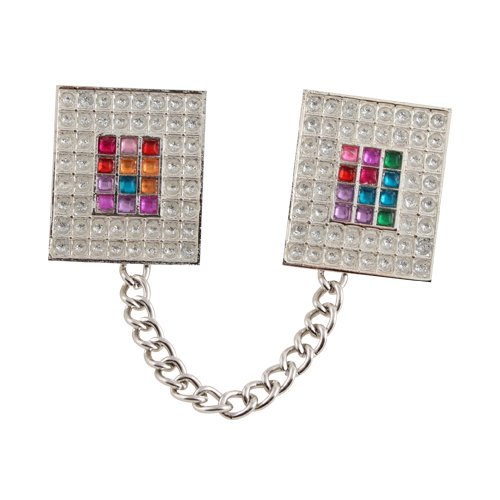 Silver Nickel Prayer Shawl Clips with Chain - Colorful Breastplate Design