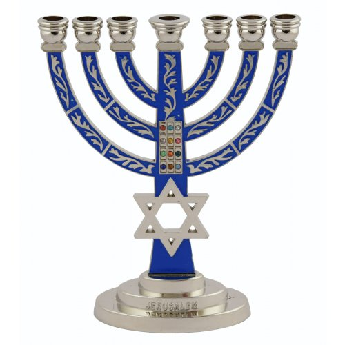 Temple Menorah with Blue Background and star of David with Breastplate