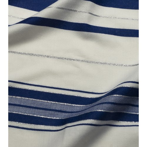 Wool Prayer Shawl with Blue and Silver Stripes - Talitania