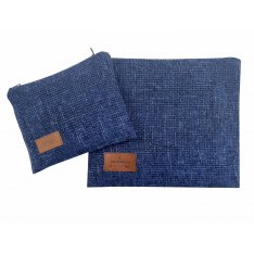 Woven Fabric Prayer Shawl and Tefillin Bag Set, Dark Blue - Ronit Gur