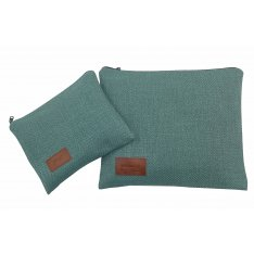 Woven Fabric Prayer Shawl and Tefillin Bag Set, Green-Turquoise - Ronit Gur
