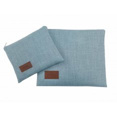 Woven Fabric Prayer Shawl and Tefillin Bag Set, Light Blue - Ronit Gur