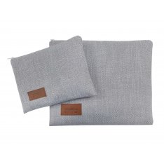 Woven Fabric Prayer Shawl and Tefillin Bag Set, Light Gray - Ronit Gur